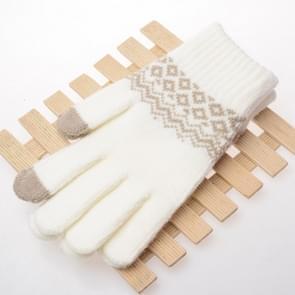 Winter touch screen handschoenen vrouwen mannen warme stretch gebreide wanten imitatie wol Thicken volledige vinger handschoenen (A-wit)