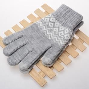 Winter touch screen handschoenen vrouwen mannen warme stretch gebreide wanten imitatie wol Thicken Full Finger handschoenen (A-grijs)