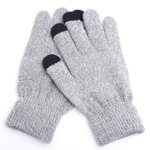 Winter touch screen handschoenen vrouwen mannen warme stretch gebreide wanten imitatie wol Thicken Full Finger handschoenen (B-grijs)