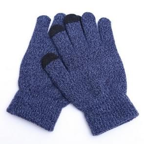 Winter touch screen handschoenen vrouwen mannen warme stretch gebreide wanten imitatie wol Thicken Full Finger handschoenen (B-blauw)