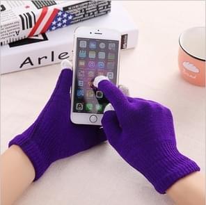 Winter touch screen handschoenen vrouwen mannen warme stretch gebreide wanten imitatie wol Thicken volledige vinger handschoenen (C-paars)