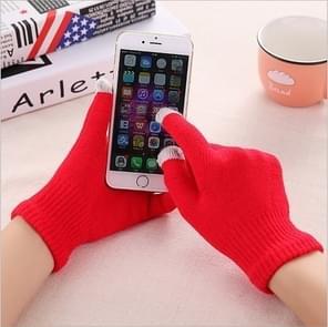 Winter touch screen handschoenen vrouwen mannen warme stretch gebreide wanten imitatie wol Thicken Full Finger handschoenen (C-rood)
