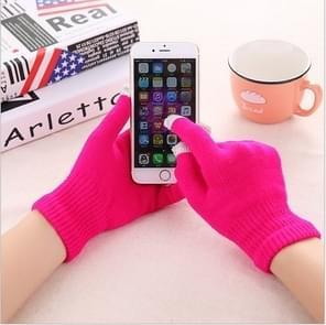Winter touch screen handschoenen vrouwen mannen warme stretch gebreide wanten imitatie wol dikker volledige vinger handschoenen (C-donker roze)