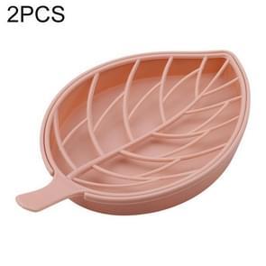 2 stuks bladvorm Double-Deck zeepkist douche lade wandelen bad huis container houder (roze)