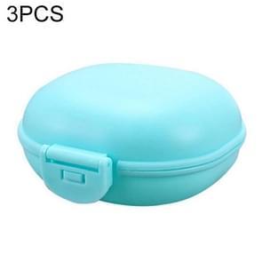 3 stuks badkamer schotel plaat geval thuis douche reizen wandelen houder container zeepkist (blauw)