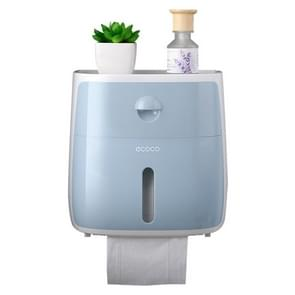 Household Creative Plastic Toilet Paper Holder with Double Drawers Waterproof Bath Toilet Paper Storage Box(Blue)