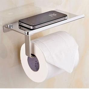 Stainless Steel Glossy Toilet Paper Holder Paper Roll Hanger With Mobile Phone Storage Shelf
