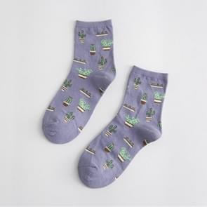 Zomer cactus patroon boot bloem vrouwen katoen sokken (violet)