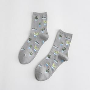 Zomer cactus patroon boot bloem vrouwen katoen sokken (grijs)