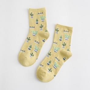 Zomer cactus patroon boot bloem vrouwen katoen sokken (gember geel)