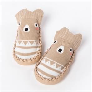 Fashion Baby Sokken met Rubber zolen Infant sok pasgeboren Herfst Winter kinderen vloer sokken schoenen Anti Slip zachte enige sok  Kid formaat: 14 cm (525 kaki)