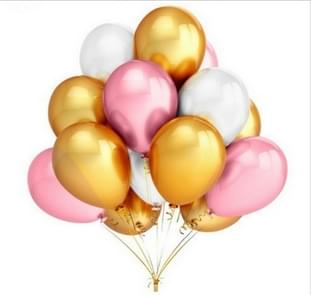 45 PCS/Lot 12 Inch Pearl Latex Balloons Birthday Wedding Party Decor with Colored Ribbon(Pink+gold+silver)
