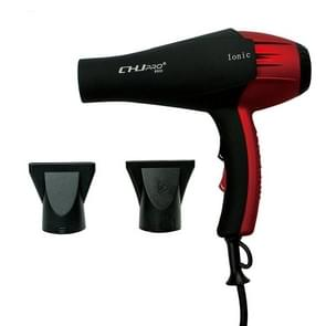 Professional Portable Electric Ionic Hair Blower Hair Style Tool High Power With Nozzle, plug in:EU Plug(Red  Black)