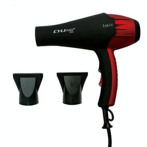 Professional Portable Electric Ionic Hair Blower Hair Style Tool High Power With Nozzle, plug in:US Plug(Red  Black)