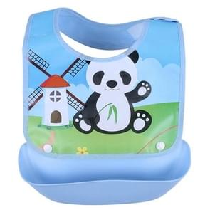 Newborn Waterproof Cartoon Cute Aprons Bib Infant Saliva Towels Baby Bibs(Blue Panda)