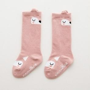3 paar peuter knie hoge sok anti slip cute cartoon warme baby lange sok  Kid grootte: S (Pink Fox)