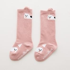 3 paar peuter knie hoge sok anti slip cute cartoon warme baby lange sok  Kid grootte: M (Pink Fox)
