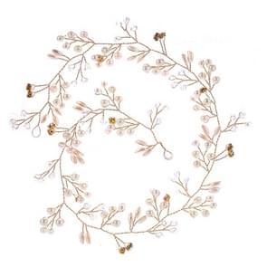 50cm Wedding Fashion hoofdtooi bruid handgemaakte bruiloft kroon Floral parel haar accessoires haarspeld Ornaments(Gold)
