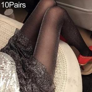 10 Pairs Women Tights Classic Silk Stockings Thin Lady Pantyhose(Glitter)