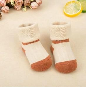 3 Pairs Newborn Thick Cotton Baby Socks, Size:S(Head With Color Light Coffee)