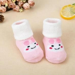 3 Pairs Newborn Thick Cotton Baby Socks, Size:M(Pink Rabbit Face)