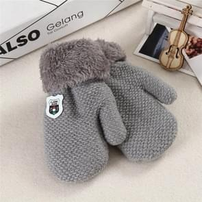 Winter Baby gebreide warme handschoenen full finger wanten met touw (lichtgrijs)