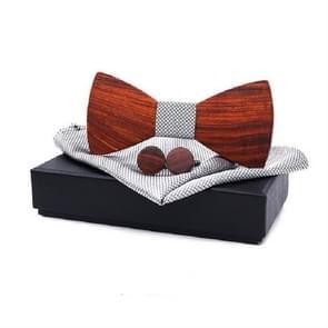 3 in 1 mannen Rosewood bowknot + zak vierkante handdoek + 2 Manchetknopen set (grijs)