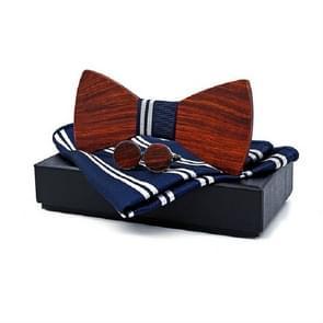 3 in 1 mannen Rosewood bowknot + zak vierkante handdoek + 2 Manchetknopen set (blauwe en witte strepen)