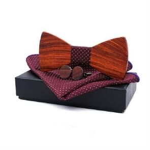 3 in 1 mannen Rosewood bowknot + zak vierkante handdoek + 2 Manchetknopen set (rood)