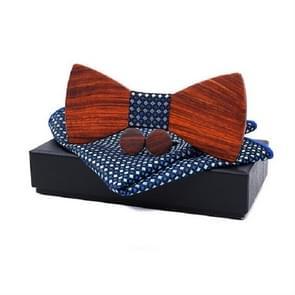 3 in 1 mannen Rosewood bowknot + zak vierkante handdoek + 2 Manchetknopen set (blauw vierkant)