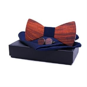 3 in 1 mannen Rosewood bowknot + zak vierkante handdoek + 2 Manchetknopen set (Navy)
