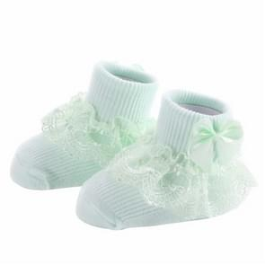 3 Pairs Bow Lace Baby Socks Newborn Cotton Baby Sock, Size:S(Green)