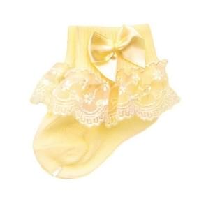 3 Pairs Bow Lace Baby Socks Newborn Cotton Baby Sock, Size:M(Yellow)