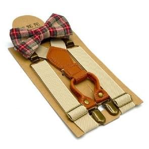 Children British Style Solid Color Elastic Straps and Bow Tie Set(Khaki)