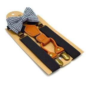 Children British Style Solid Color Elastic Straps and Bow Tie Set(Black)