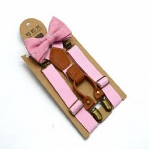Children British Style Solid Color Elastic Straps and Bow Tie Set(Pink)