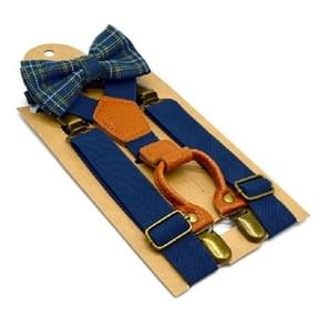 Children British Style Solid Color Elastic Straps and Bow Tie Set(Navy)