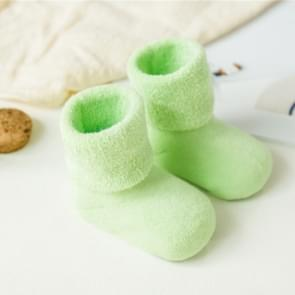 3 Pairs Cotton Baby Socks Thicken Warm Newborn Anti Slip Floor Sock, Size:M(Milk Green)
