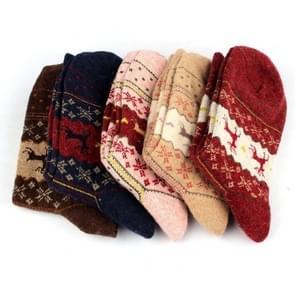 10 paar hert elanden ontwerp casual warme winter gebreide wol vrouwelijke sokken (herten patroon)