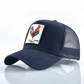 Cotton Embroidered Animal Baseball Cap(Blue Cock)