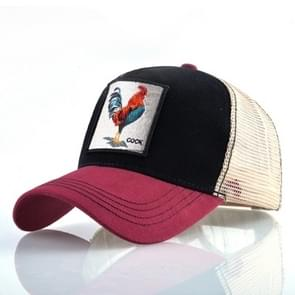 Cotton Embroidered Animal Baseball Cap(Red2 Cock)
