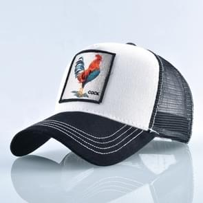 Cotton Embroidered Animal Baseball Cap(White Cock)
