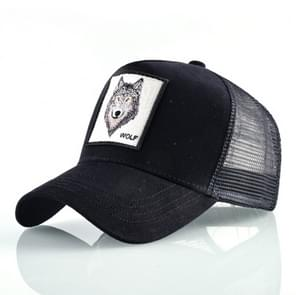 Cotton Embroidered Animal Baseball Cap(Black Wolf)
