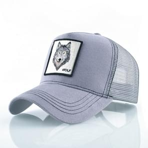 Cotton Embroidered Animal Baseball Cap(Gray Wolf)