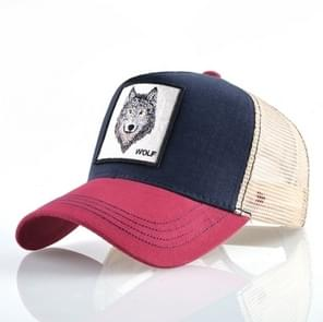 Cotton Embroidered Animal Baseball Cap(Red1 Wolf)