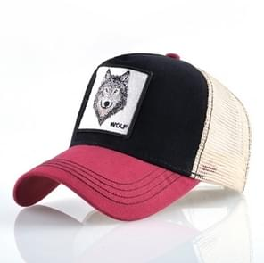Cotton Embroidered Animal Baseball Cap(Red2 Wolf)