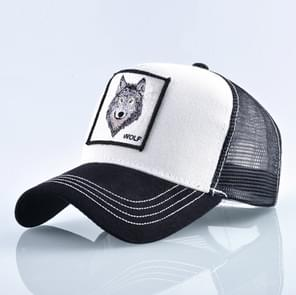 Cotton Embroidered Animal Baseball Cap(White Wolf)