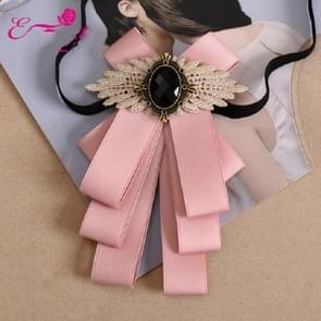 Women College Style Bow-knot Bow Tie Pin Shirt Collar Decoration(Pink)
