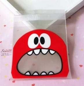 100 PCS Cute Big Teech Mouth Monster Plastic Bag Wedding Birthday Cookie Candy Gift OPP Packaging Bags, Gift Bag Size:10x10cm(Red)