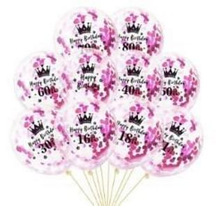 10 PCS 12 Inch Latex Clear Birthday Inflatable Confetti Balloons 30 / 40 / 50 Anniversary Wedding Decoration 70th(Rose Red Confetti+Crown)